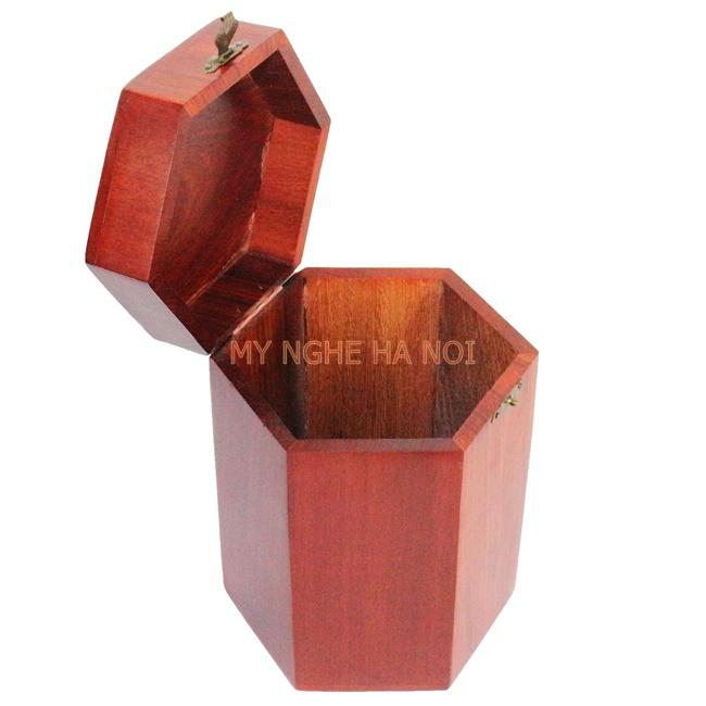 hộp trà gỗ đục hoa điểu